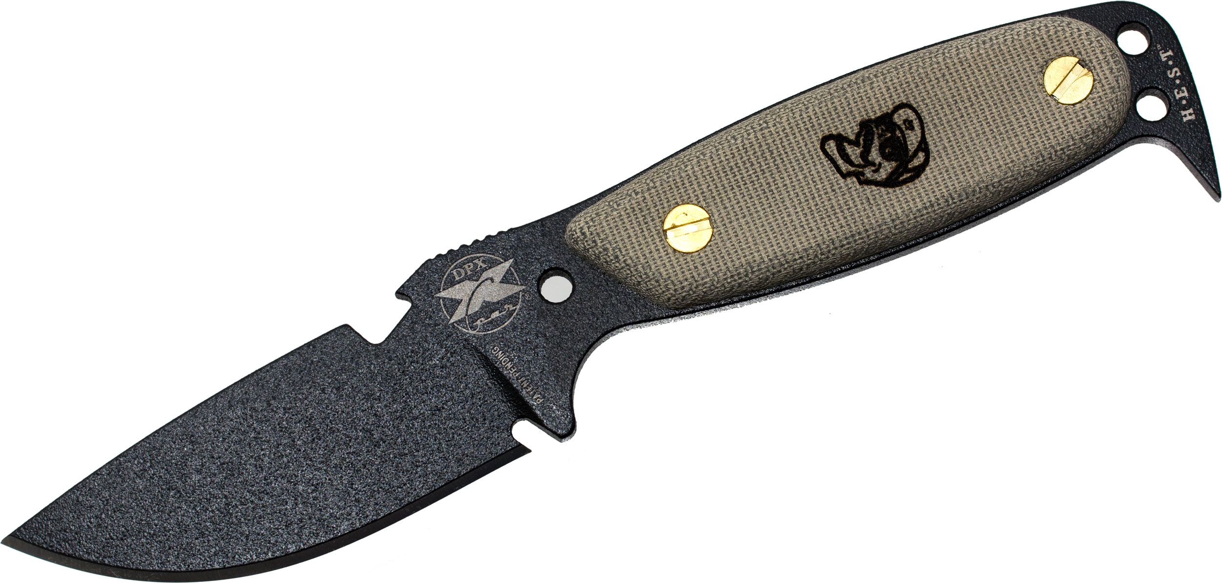 DPx Gear HEST Original by Rowen Fixed Blade, Green Micarta Handles