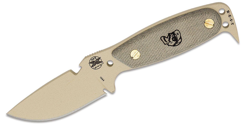 DPx Gear HEST Original by Rowen Fixed 3.13 inch Blade, Desert Tan, Micarta Handles, Kydex Sheath