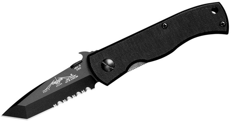 Emerson Mini CQC-7BW Folding Knife 2.9 inch Black Combo Tanto Blade with Wave, Black G10 Handles