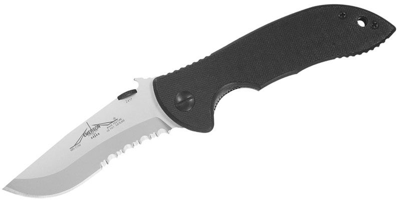 Emerson Mini Commander Folding Knife 3.4 inch Stonewash Combo Blade with Wave, Black G10 Handles