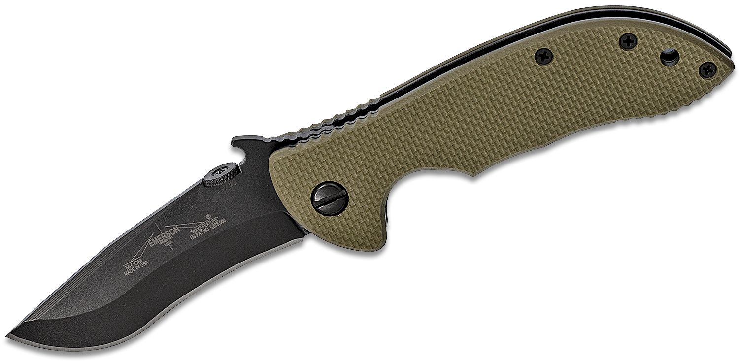 Emerson Mini Commander Folding Knife 3.4 inch 154CM Black Plain Blade with Wave, OD Green G10 Handles