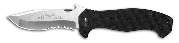 Emerson Mini CQC-15 Folding Knife 3.5 inch Stonewash Combo Blade, G10 Handles
