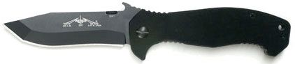 Emerson CQC-15 Folding Knife 3.9 inch Black Plain Blade with Wave, Black G10 Handles