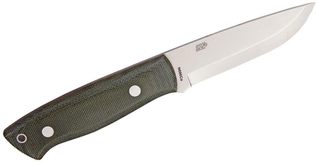 EnZO Trapper 95 Fixed 3-3/4 inch Plain N690Co Blade, Green Micarta Handle, Brown Leather Sheath