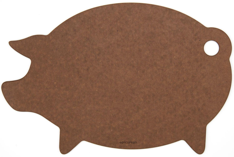 Epicurean Novelty Series Wood Fiber Pig Cutting/Serving Board, Nutmeg/Natural, 16 inch x 11 inch
