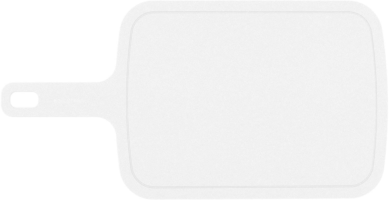 Epicurean Poly Board All-Purpose Cutting Board, White, 15 inch x 8 inch with 5 inch Handle