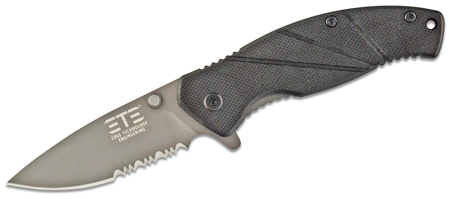 ETE EDC Workhorse Assisted Flipper Knife 3.2 inch Drop Point Combo Blade, Black G10 Handles