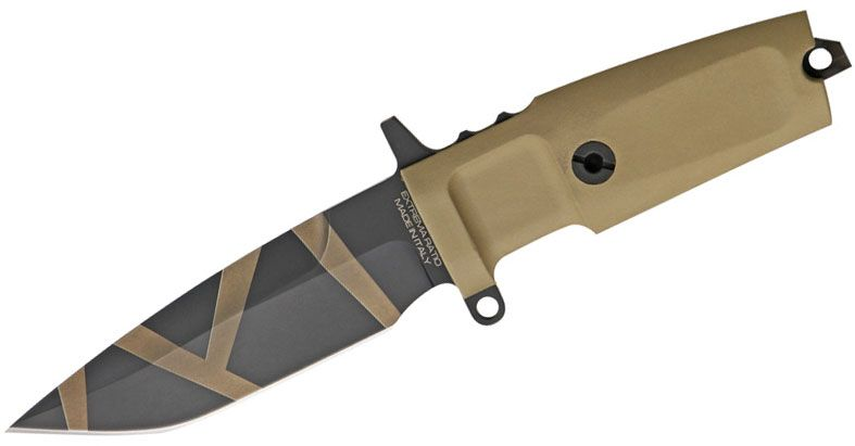 Extrema Ratio Desert Warfare Col Moschin Compact Combat Knife 3.7 inch N690 Plain Blade, Forprene Handles