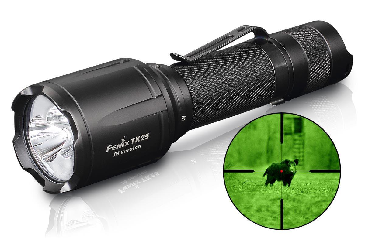 Fenix TK25 IR Tactical LED Flashlight with Infrared Illuminator, Black, 1000 Max Lumens