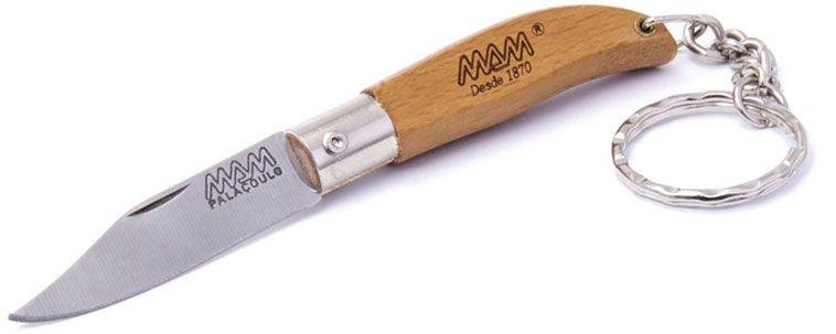 MAM Filmam 2000 Mini Iberica Folding Key Ring Knife 1.77 inch Clip Point Blade, Beechwood Handle