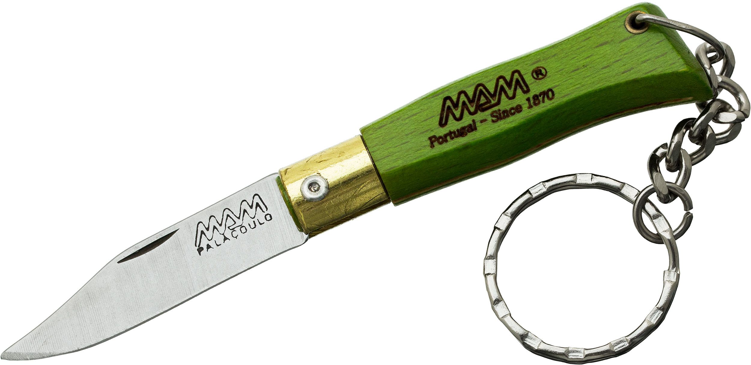 MAM Filmam 2002G Duoro Folding Key Ring Knife 1.625 inch Clip Point Blade, Green Beechwood Handle
