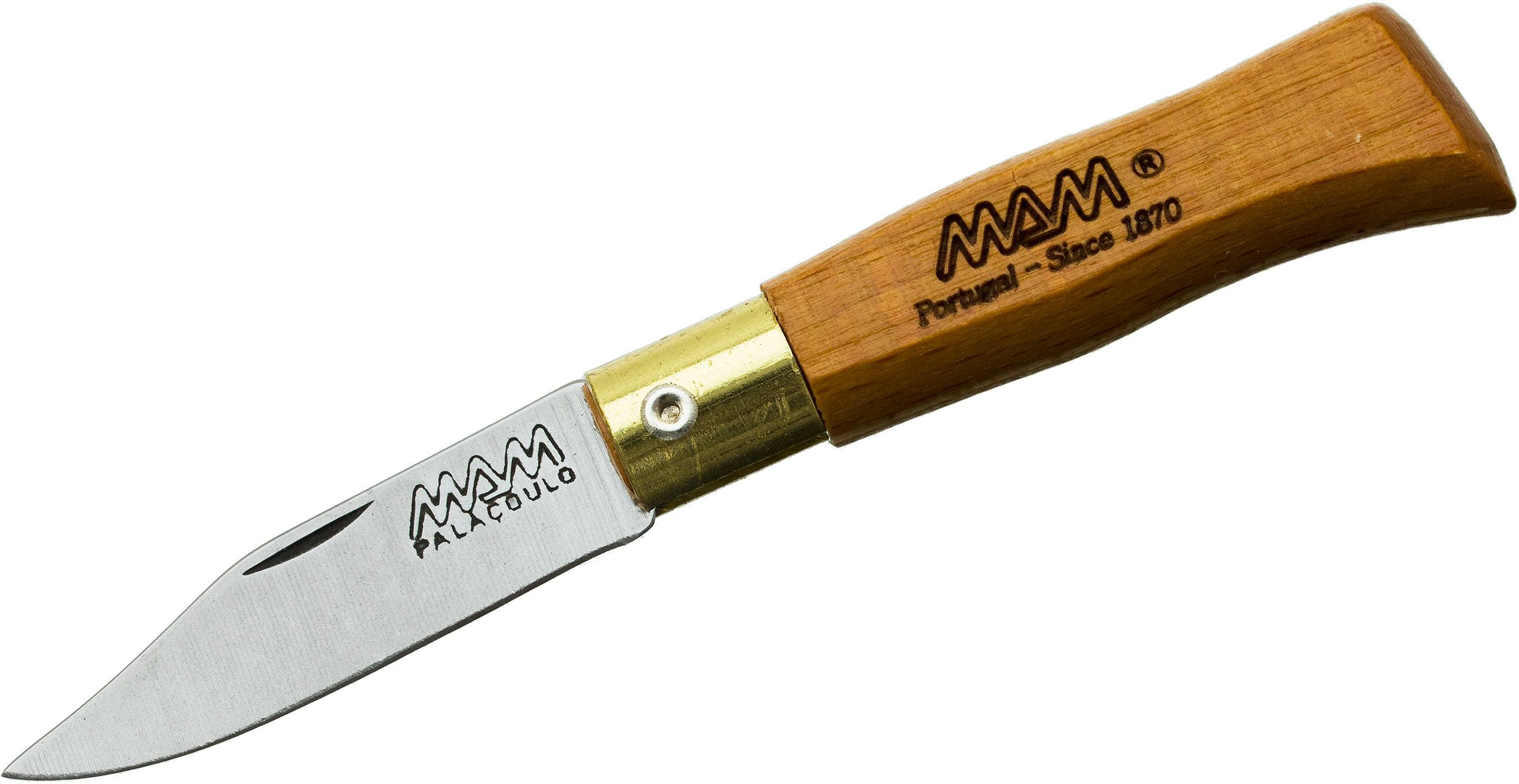 MAM Filmam 2002L Duoro Folding Key Ring Knife 1.625 inch Clip Point Blade, Beechwood Handle, Leather Sheath
