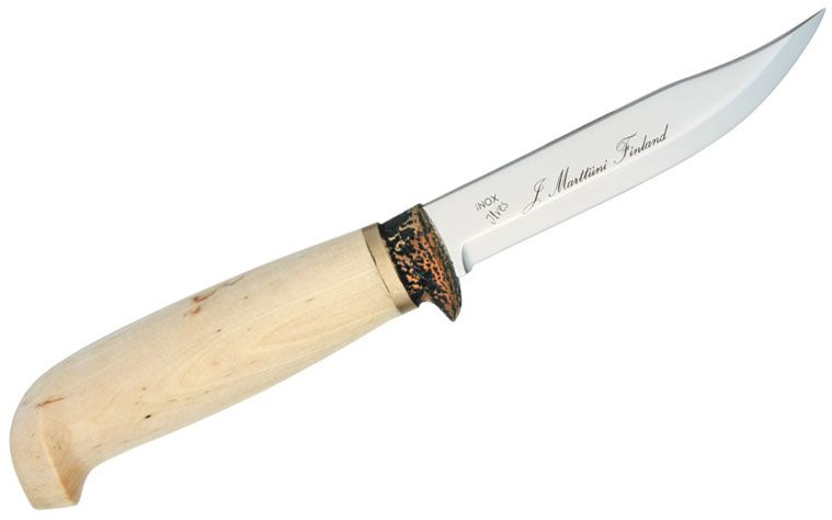 Marttiini Jagdmesser Hunter Fixed 4-1/4 inch Blade, Curly Birch Wood Handles