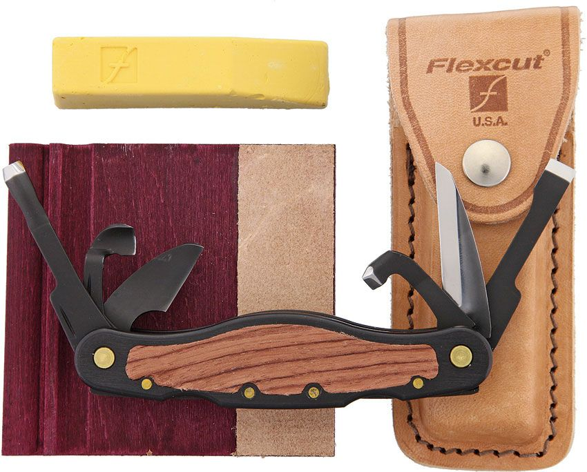 Flexcut Left-Handed Carvin' Jack Knife 6 Different Style Blades, Black Aluminum Handle w/ Wood Inlays, Leather Sheath