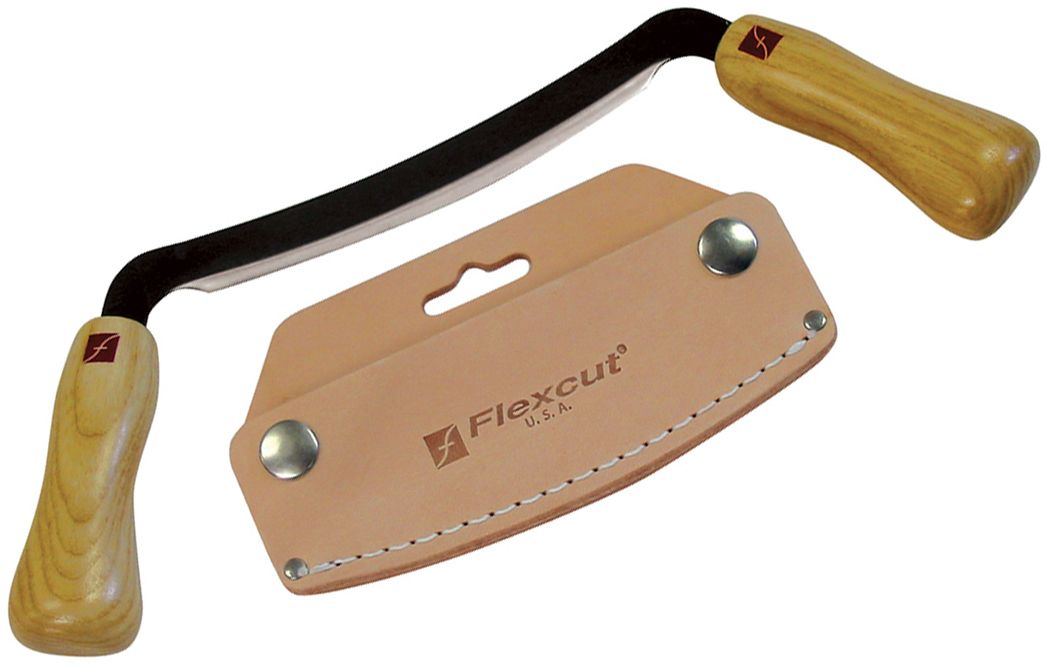 Flexcut Draw Knife 5 inch Flexible Carbon Steel Blade, Ash Wood Handles, Leather Sheath
