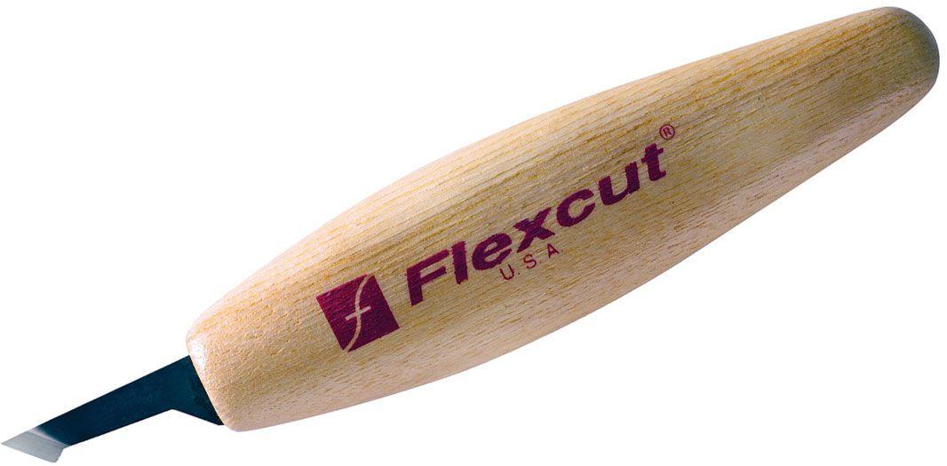 Flexcut Mini-Detail Skew Knife 1.125 inch Carbon Steel Blade, Ash Wood Handles