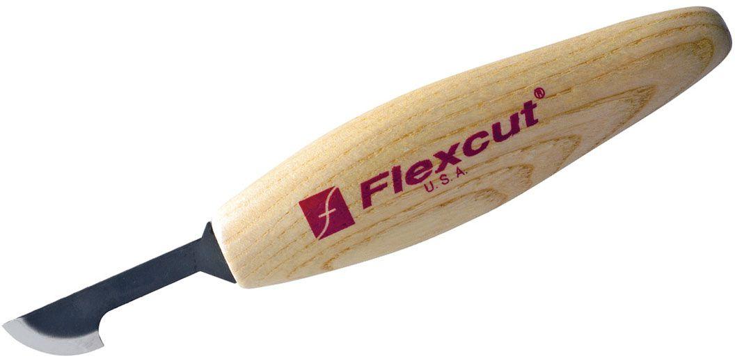 Flexcut Hooked Skew Knife 1.875 inch Carbon Steel Blade, Ash Wood Handles