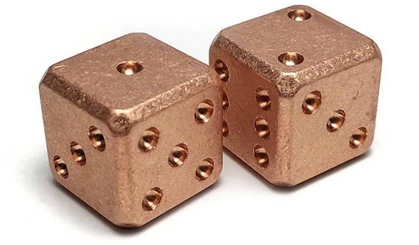 Flytanium Large Cuboid Copper Dice, 2-Pack