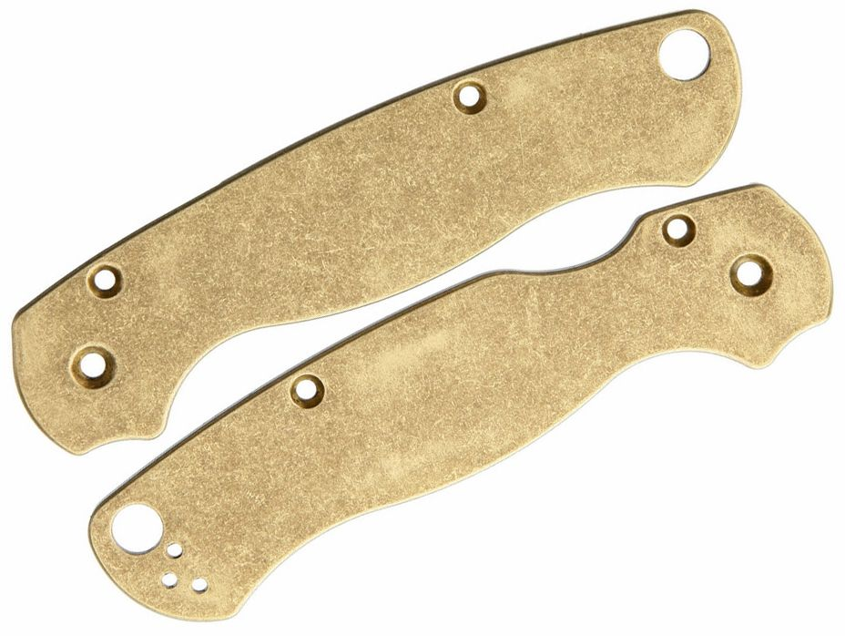 Flytanium Brass Scales for Spyderco Paramilitary 2, Antique Stonewashed - Knife Not Included