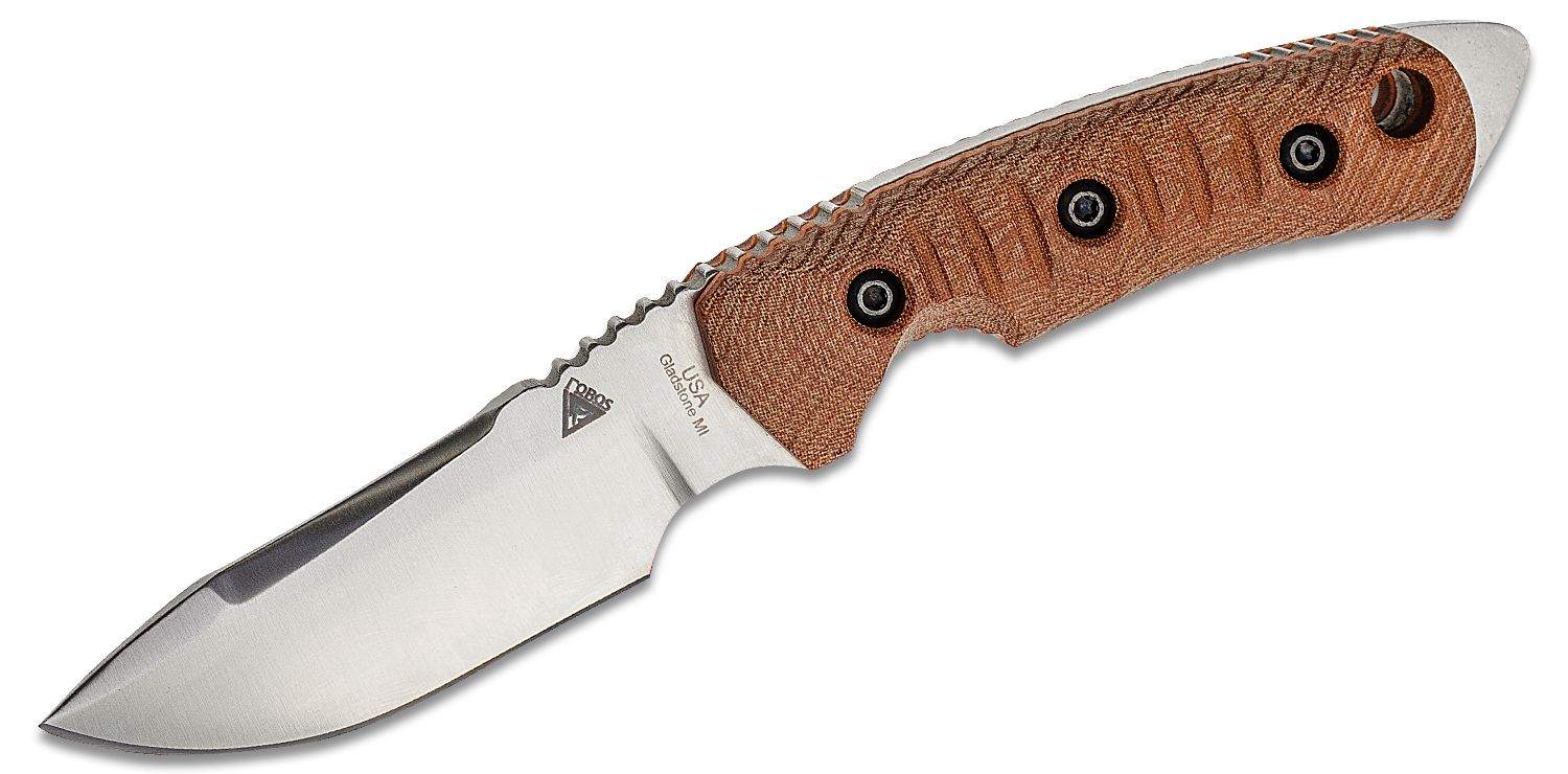 FOBOS Knives Tier 1 Mini Fixed Blade Knife 3.94 inch CPM-154 Satin Drop Point, Natural Canvas Micarta w/ Orange Liners, Leather Sheath