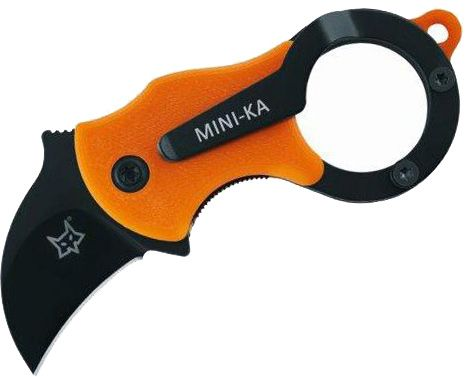 Fox FX-535OB Mini-Ka Folding Karambit 1 inch Black Cerakote Blade, Orange FRN Handles