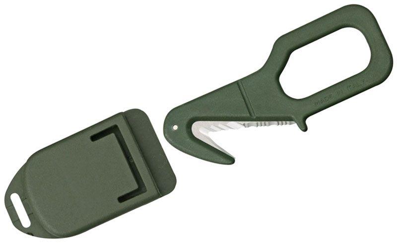 Fox Rescue Emergency Tool 2 inch Serrated Blade, OD Green Kydex Handle and Sheath