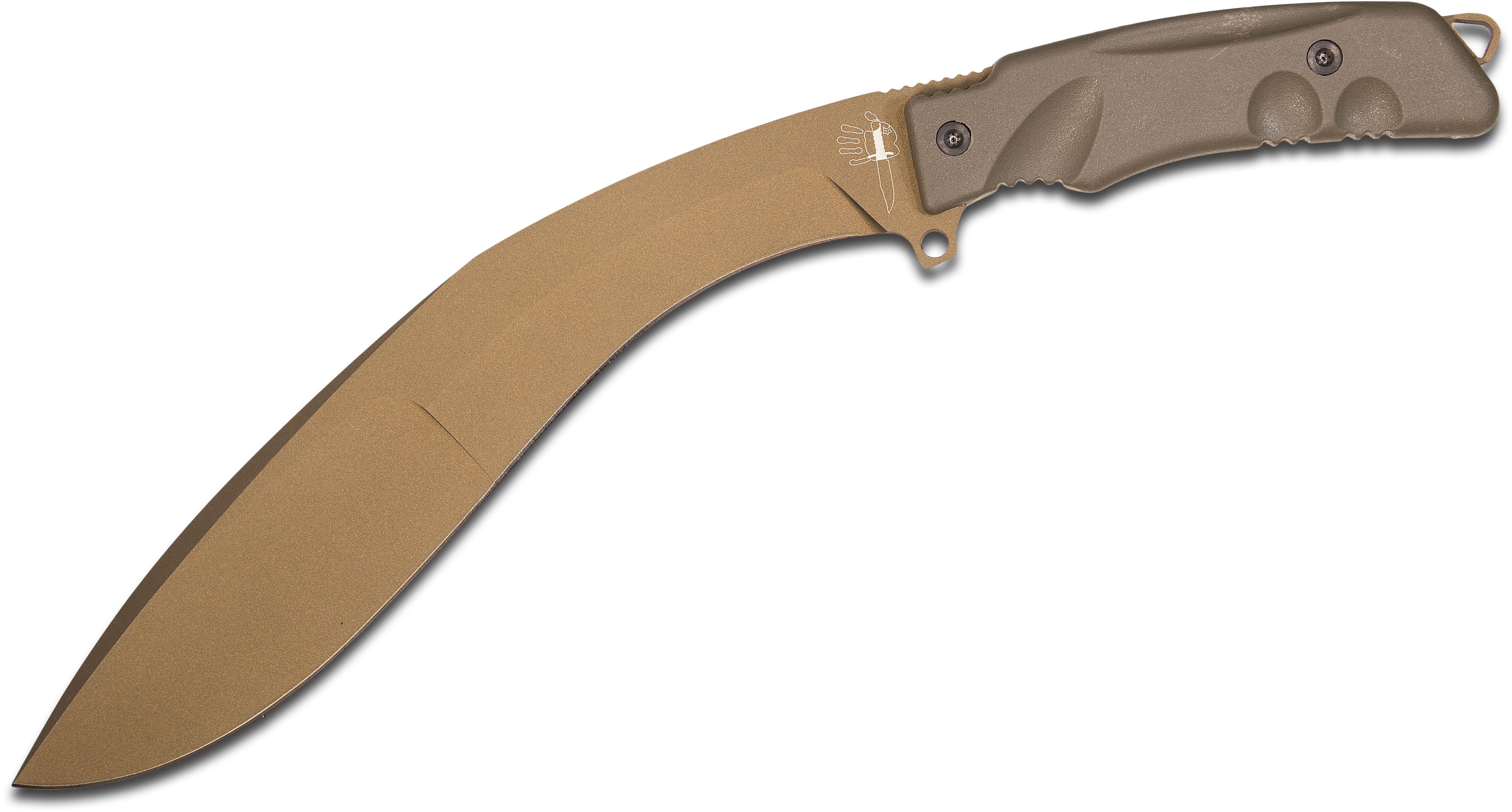 Fox Extreme Tactical Kukri Machete 9 inch N690Co Blade, Bronze Forprene Handles, Nylon Sheath
