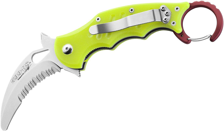 Fox FX-599RSY Rescue Folding Karambit 2.36 inch N690 Satin Combo Blade, Yellow G10 Handles