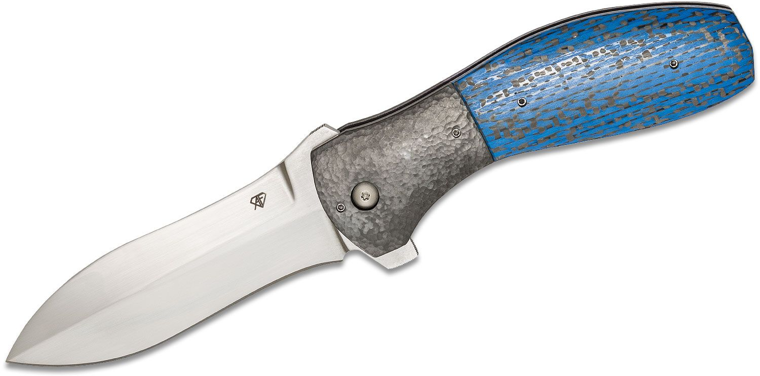 Aaron Frederick Custom Smatchet Flipper Knife 3.95 inch CPM-154 Hand Rubbed Satin Blade, Blue Carbon Fiber Handles with Hammered Zirconium Bolsters