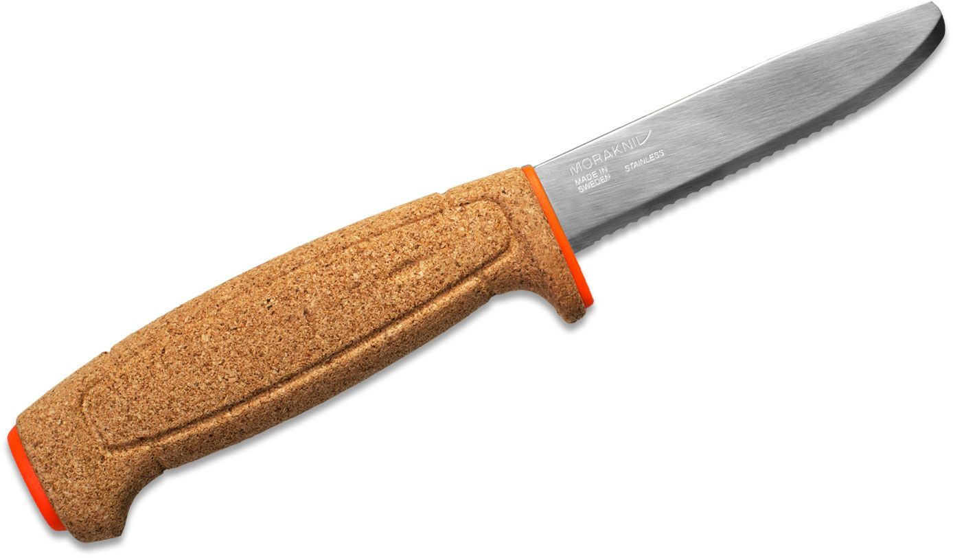 Morakniv Mora of Sweden Floating Serrated Knife 3.75 inch Polished Blunt Tip Blade, Cork Handle, Orange Polymer Sheath