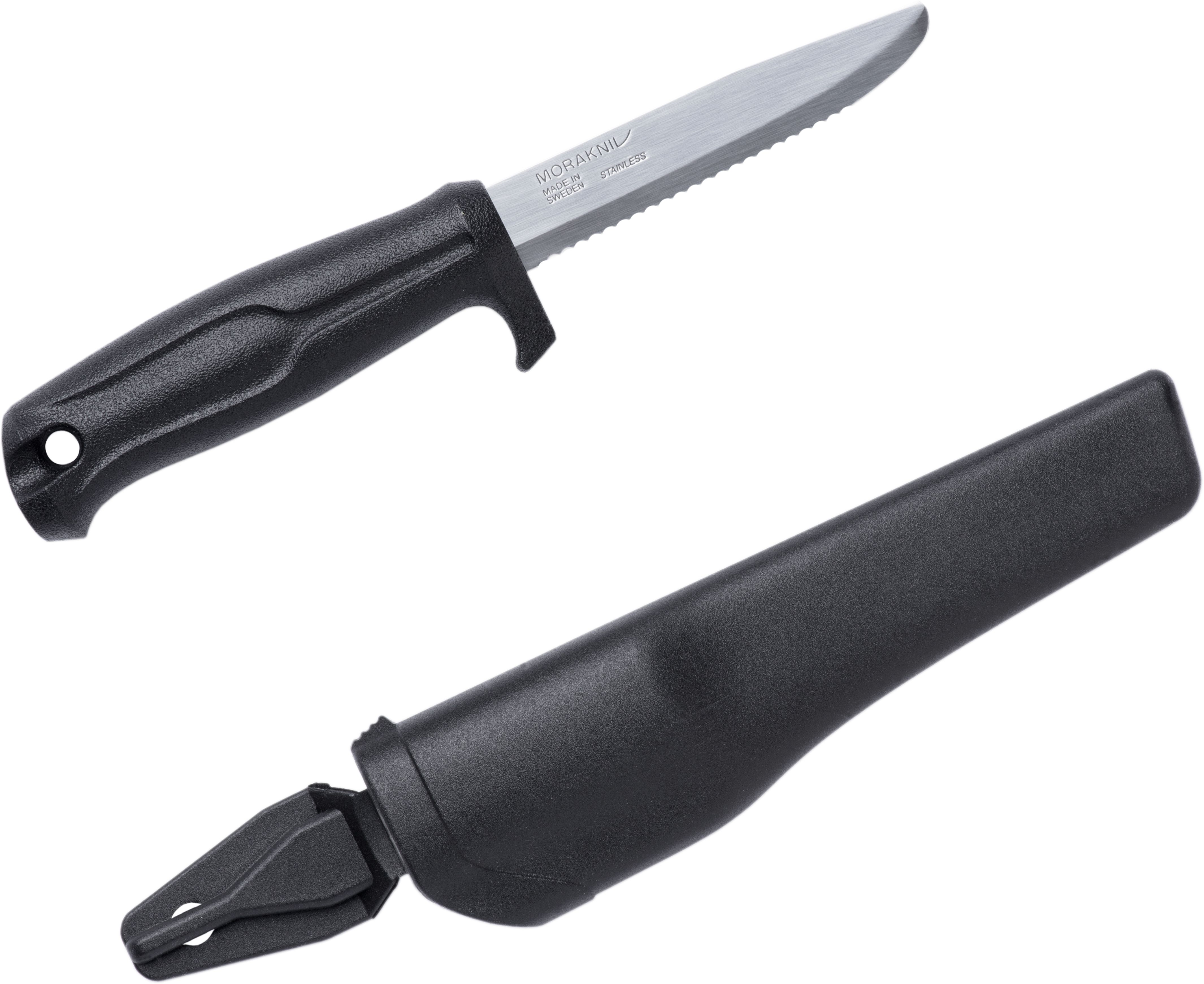Morakniv Mora of Sweden Marine Rescue 541 Fixed 3.625 inch Stainless Steel Combo Blade, Black Polymer Handle, Black Polymer Sheath