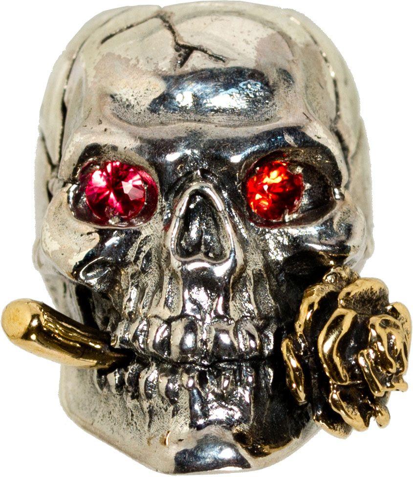 GD Skulls USA KC4-A Rose Skull 2 with Bejeweled Eyes