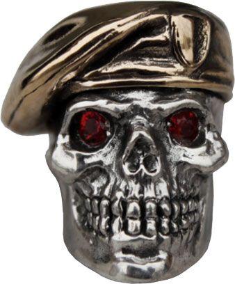 GD Skulls USA SP3-A Beret Skull 2 with Bejeweled Eyes