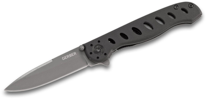 Gerber EVO Jr. Flipper Knife 2.63 inch Gray Plain Blade, Black Aluminum Handles