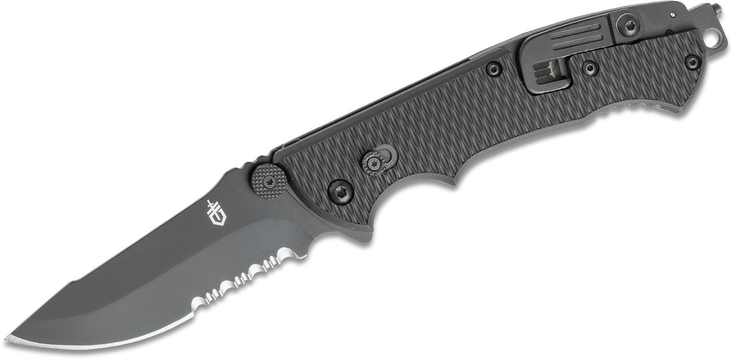 Gerber Hinderer CLS Rescue Folder 3.5 inch Combo Blade, Seat Belt Cutter, Window Breaker and Oxygen Tank Wrench