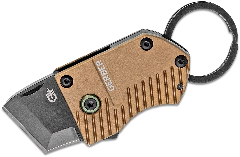 Gerber Key Note Keyring Flipper Knife, Black Tanto Blade, Brown Aluminum Handles