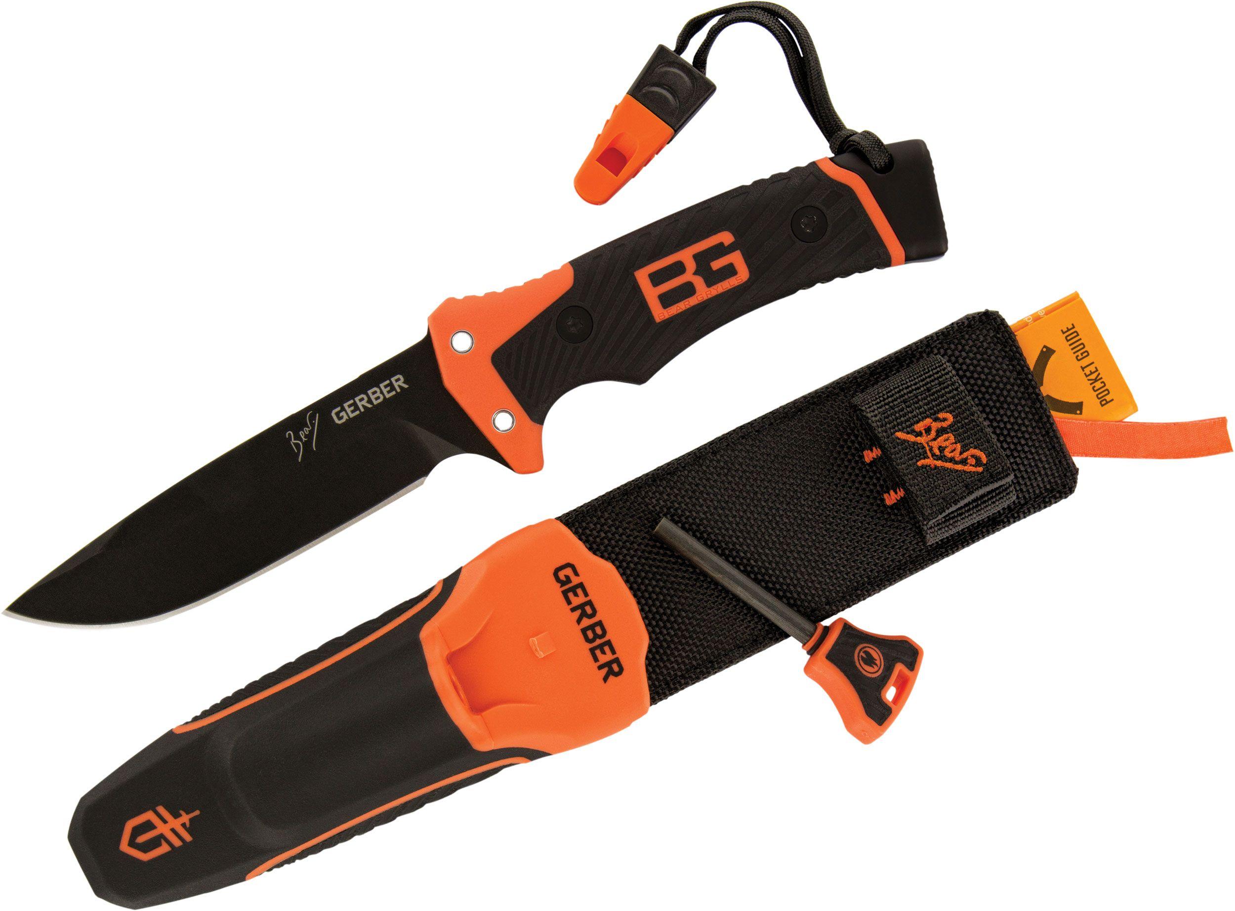 Gerber 31-001901 Bear Grylls Ultimate Pro Survival Knife 4.8 inch Plain Blade, TPE Overmold Handles