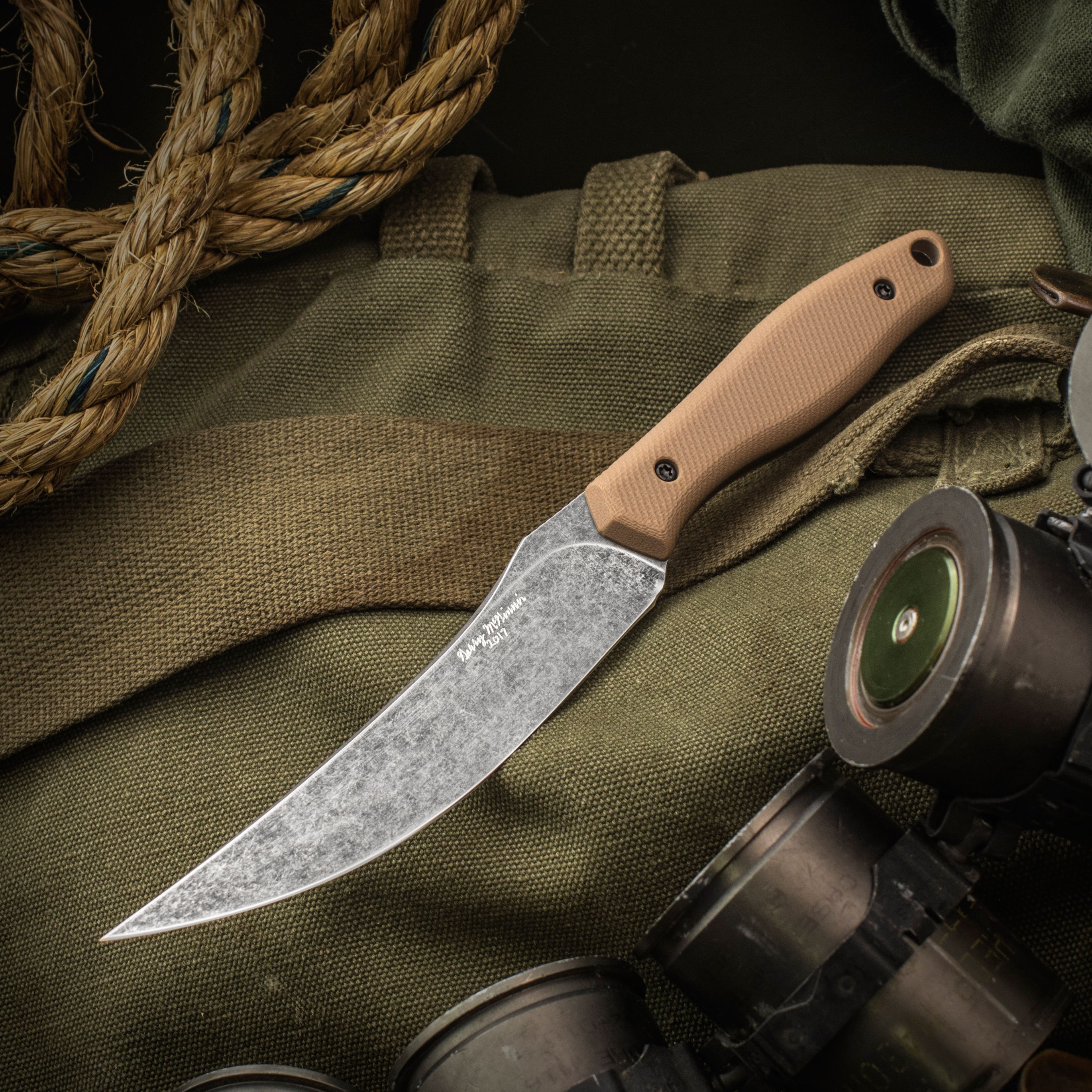 Gerry McGinnis Custom Skinner Fixed 4.5 inch CPM-154 Acid Washed Blade, Tan G10 Handles, No Sheath