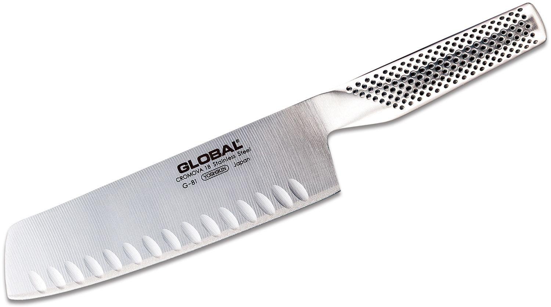 Global Classic 7 inch Vegetable/Nakiri Knife, Hollow Ground