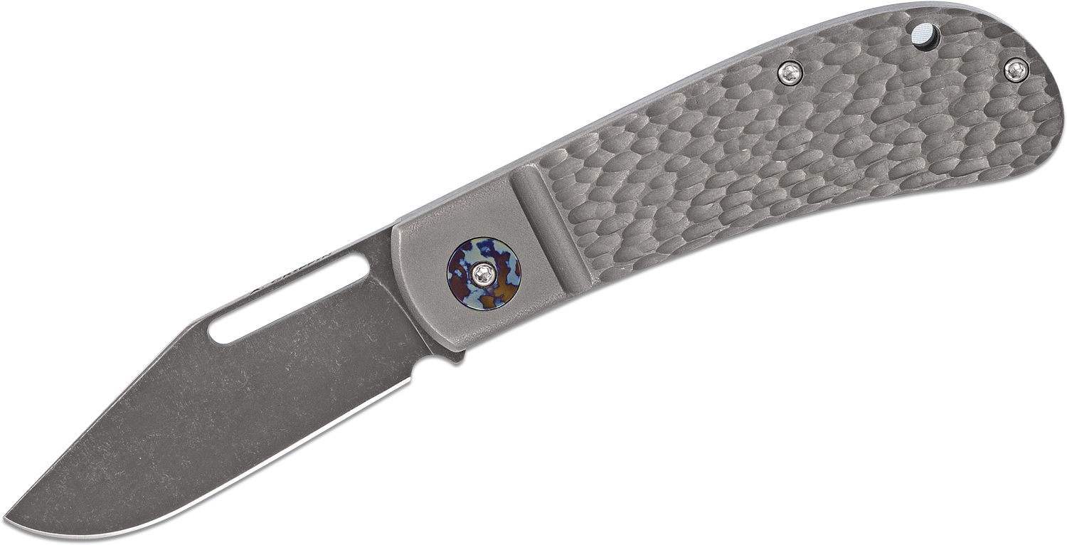 Anthony Griffin Custom One-Handed Dirty Lanny's Clip Slipjoint Folding Knife 3.2 inch CPM-10V Acid Washed Blade, Jigged Titanium Handles with Timascus Collars