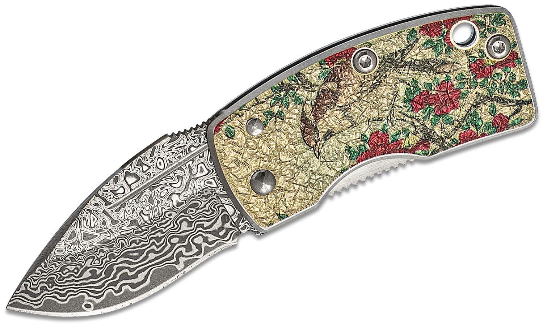 G. Sakai Money Clip Folding Knife 1.61 inch Damascus Blade, Stainless Steel Handles with Camellia Artwork