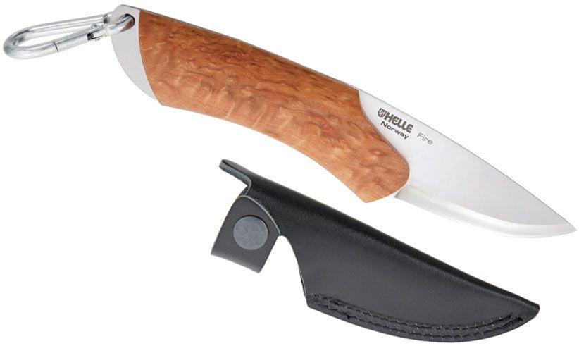 Helle Fire Fixed 2-7/8 inch Blade, Birch Wood Handle, Genuine Leather Sheath