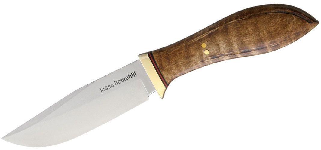 Jesse Hemphill Knives Town Creek Fixed 4.25 inch A2 Tool Steel Clip Point Blade, Dark Curly Maple Wood Handles, Leather Sheath