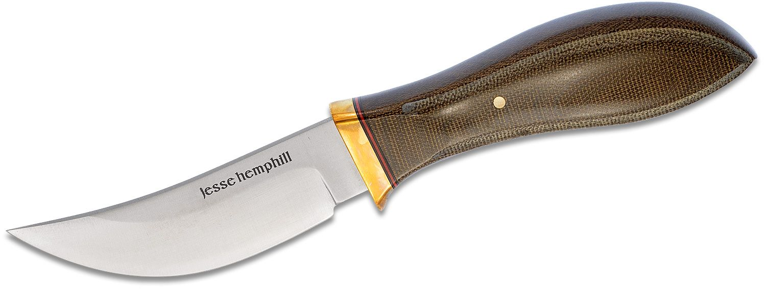 Jesse Hemphill Knives High Falls Fixed 3.75 inch A2 Tool Steel Skinner Blade, Green Canvas Micarta Handles, Leather Sheath