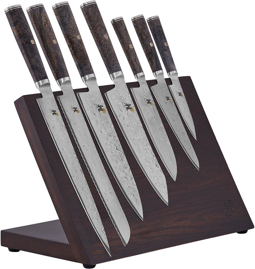 Zwilling J.A. Henckels Miyabi Black 5000MCD67 10 Piece Magnetic Block Set, Big Leaf Maple Burl Wood Handles