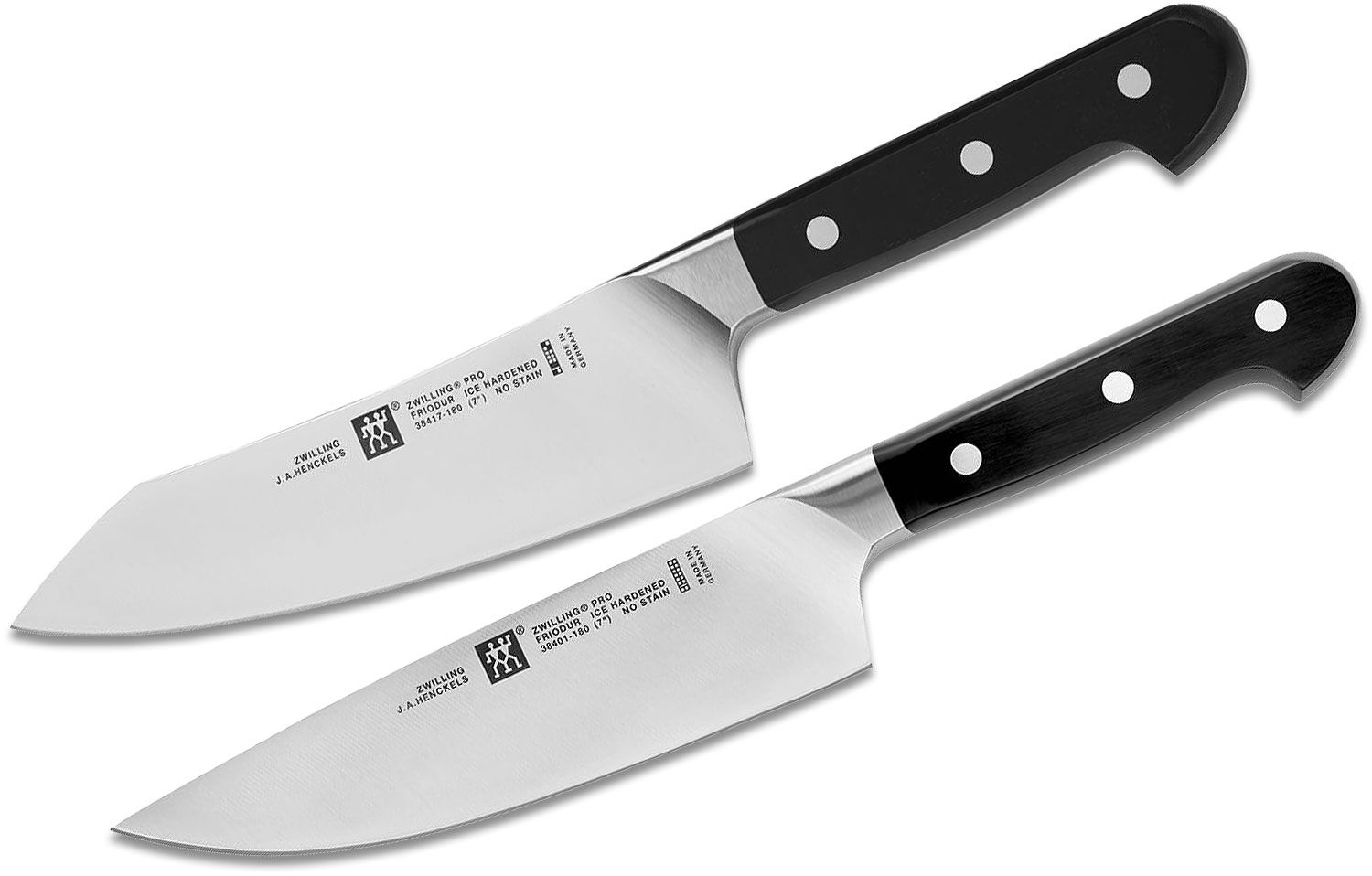 Zwilling J.A. Henckels Pro Perfect Pair 2-Piece Knife Set, 7 inch Rocking Santoku and Chef's Knives
