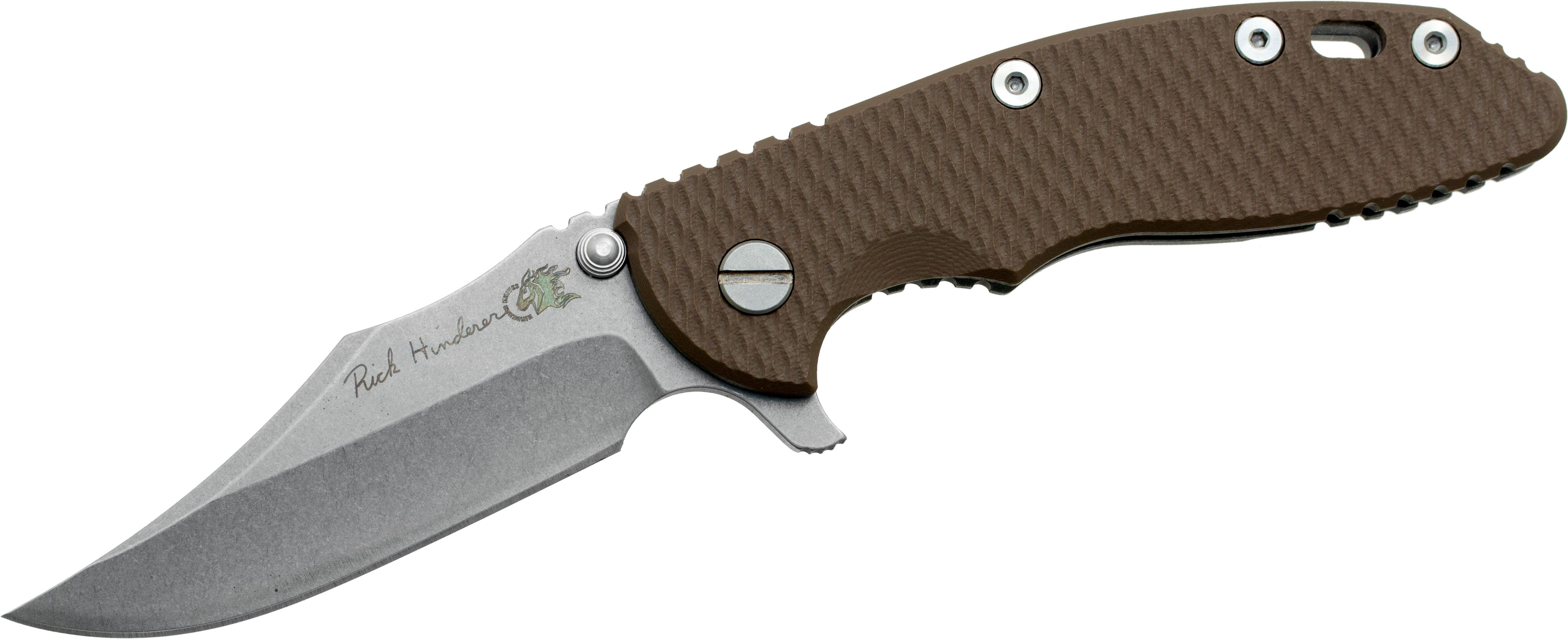 Rick Hinderer Custom XM-18 3.5 inch Flipper, S35VN Bowie Blade, Flat Dark Earth G10 Handle, Copper Hardware