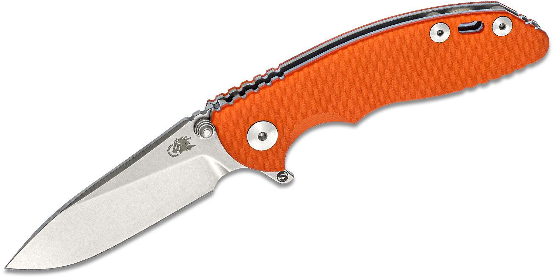 Rick Hinderer Knives Tri-Way XM-18 3 inch Skinny Flipper Knife, CPM-20CV Stonewashed Slicer Blade, Orange G10 Handles