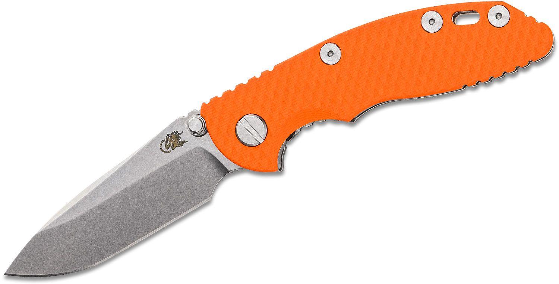 Rick Hinderer Knives Tri-Way XM-18 3 inch Folding Knife, CPM-20CV Stonewashed Spear Point Blade, Orange G10 Handle