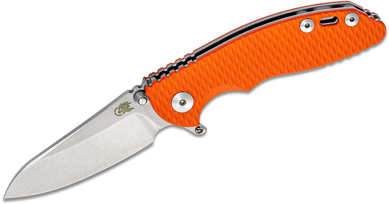 Rick Hinderer Knives Tri-Way XM-18 3 inch Skinny Flipper Knife, CPM-20CV Stonewashed Sheepsfoot Blade, Orange G10 Handles